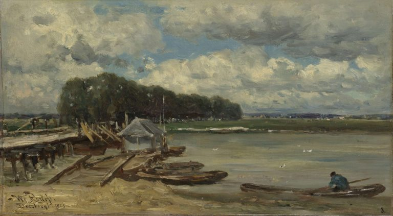The bridge over the IJssel at Doesburg. 1889 | Willem Roelofs (I) | oil painting