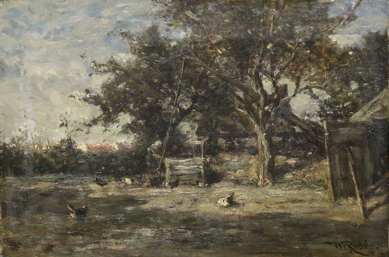 Barnyard in North. 1870 - 1897 | Willem Roelofs (I) | oil painting