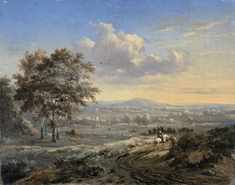 Hilly landscape with a rider on a country road. 1655 - 1684 | Jan Wijnants | oil painting