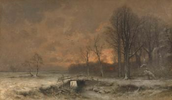 Winter Face with sunset between trees. 1880 - 1930 | Louis Apol | oil painting