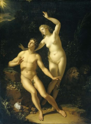 God calls Adam and Eve accountable. 1717 | Adriaen van der Werff | oil painting