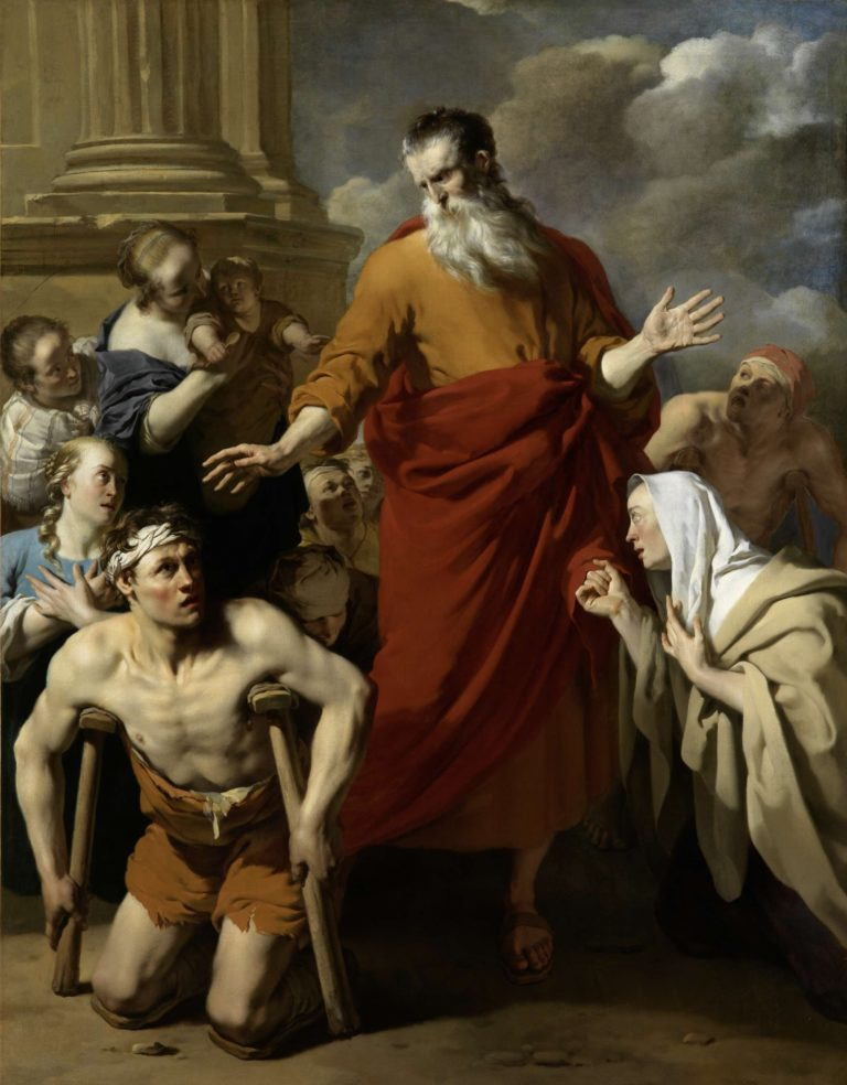 St Paul Healing the Cripple at Lystra. 1663 | Karel Dujardin | oil painting