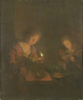 A girl places a candle in a lantern and a guy runs a fire test for an oven. 1690 - 1706 | Godfried Schalcken | oil painting