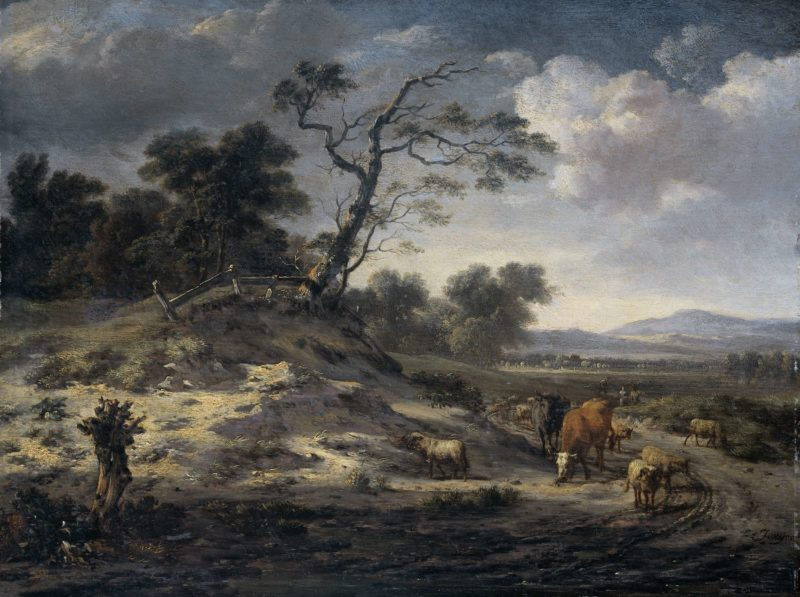 Landscape with cattle on a country road. 1655 - 1684 | Jan Wijnants | oil painting