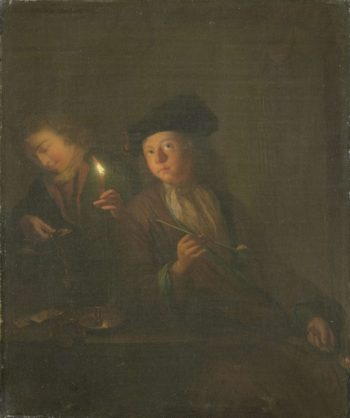 A man with a pipe and a man who pours a glass. 1690 - 1706 | Godfried Schalcken | oil painting