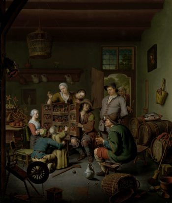The Raree show ('t Fraay Whimsical). 1718 | Willem van Mieris | oil painting