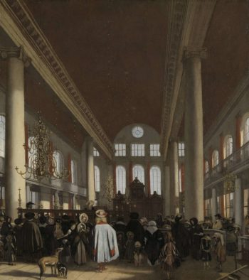 Interior of the Portuguese Synagogue in Amsterdam. 1680 | Emanuel de Witte | oil painting