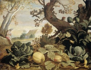 Landscape with vegetables and fruits in the foreground.. 1600 - 1651 | Abraham Bloemaert | oil painting