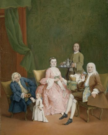 Portrait of a Venetian family with a manservant Serving Coffee. ca. 1752 | Pietro Longhi | oil painting