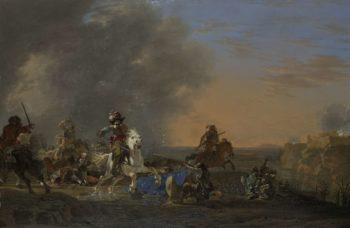 Rider Battle at sunset.. 1646 | Jan Asselijn | oil painting