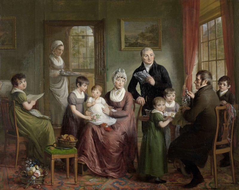 Portrait of the Family of Adriaan Bonebakker with Dirk L. Bennewitz. 1809 | Adriaan de Lelie | oil painting