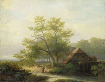 Watermill in a wooded landscape. 1854 | Lodewijk Hendrik Arends | oil painting