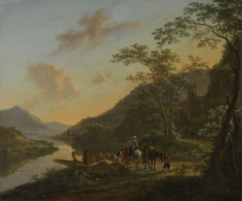 Italian Landscape with Ferry. ca. 1652 | Jan Both | oil painting