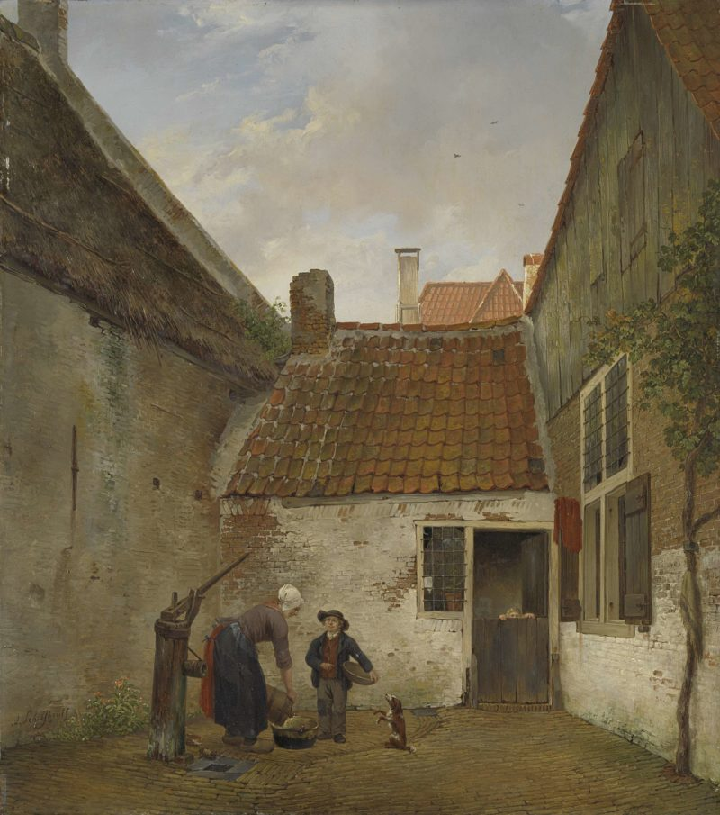 Small courtyard. 1820 - 1830 | Andreas Schelfhout | oil painting