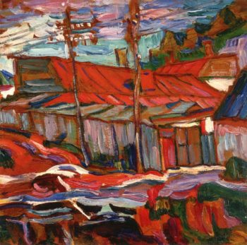 Red Roofs Russia   Abraham A Manievich   oil painting
