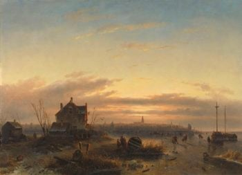 Winter on the IJ to Amsterdam. 1850 | Charles Leickert | oil painting