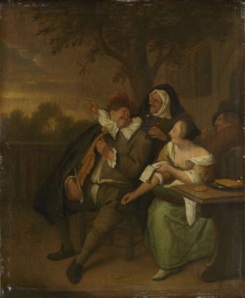 Man with a violin in bad company. 1670 - 1700 | Jan Havicksz. Steen | oil painting