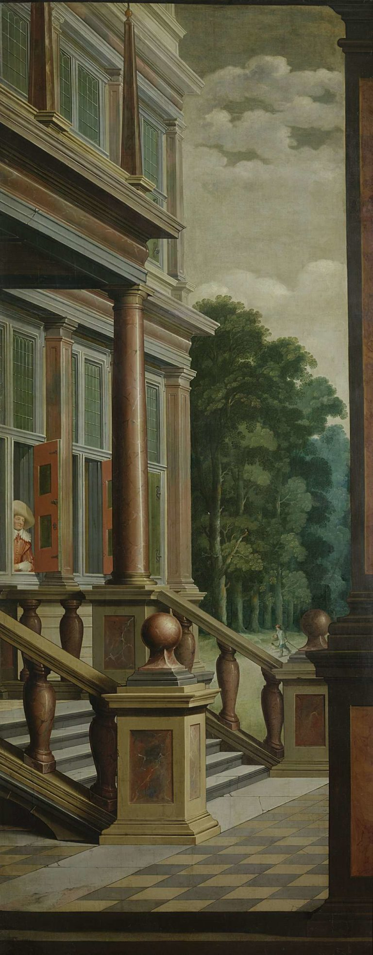 An outside staircase (right half of the show). Part of a seven-part chamber painting.. 1630 - 1632 | Dirck van Delen | oil painting