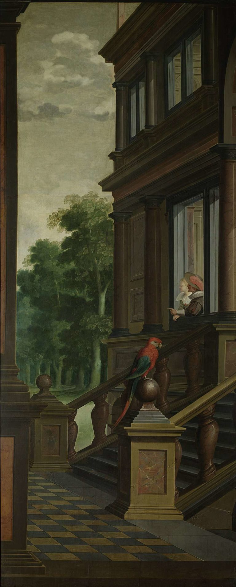 An outside staircase (left half of the show). Part of a seven-part chamber painting.. 1630 - 1632 | Dirck van Delen | oil painting