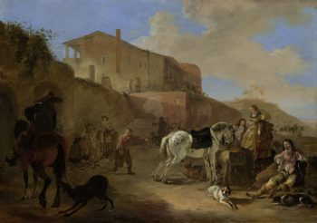 Hunting party. 1649 | Dirk Stoop | oil painting