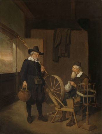 Interior with angler and man at spoelrad and reel.. 1663 | Quiringh Gerritsz. van Brekelenkam | oil painting