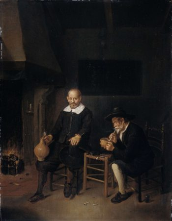 Interior with two men at the fire.. 1664 | Quiringh Gerritsz. van Brekelenkam | oil painting