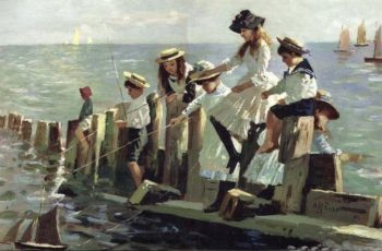 The Little Anglers | Alexander Mark Rossi | oil painting