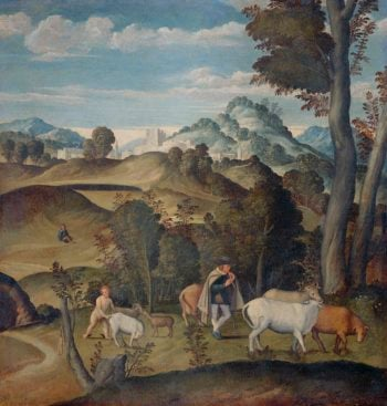 The young Mercury steals Apollo's cattle herd. 1530 - 1550 | Girolamo da Santa Croce | oil painting