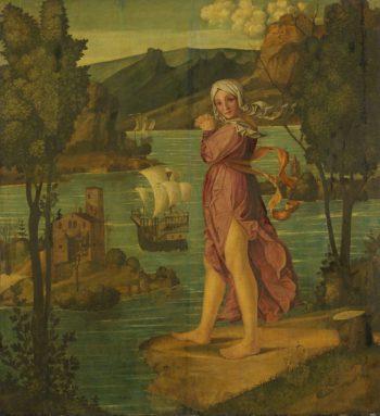 Woman standing on the waterfront. 1510 - 1530 | Girolamo dai Libri | oil painting