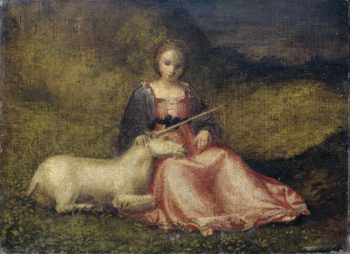 Woman with Unicorn. ca. 1510 | Anonymous | oil painting