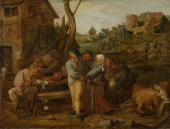 Peasant Party Fight. 1620 - 1630   Adriaen Brouwer   oil painting
