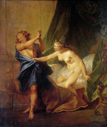 Joseph and Potiphar's wife. 1690 - 1710   Nicolas Bertin   oil painting