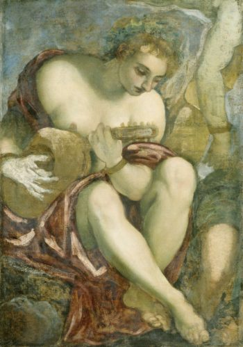 Muse with lute. 1528 - 1594 | Jacopo Tintoretto | oil painting