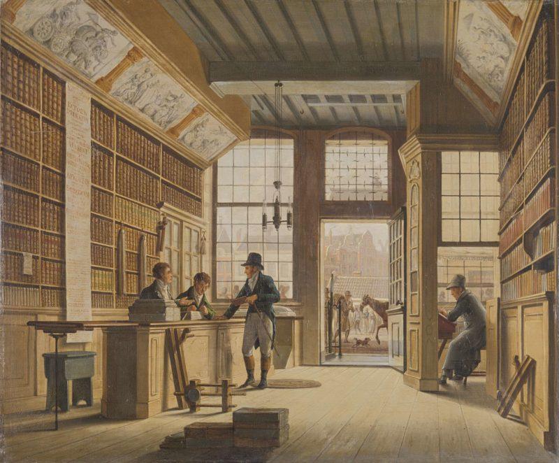 The Shop of the Book Dealer Pieter Meijer Warnars on the Vijgendam in Amsterdam. 1820 | Johannes Jelgerhuis | oil painting