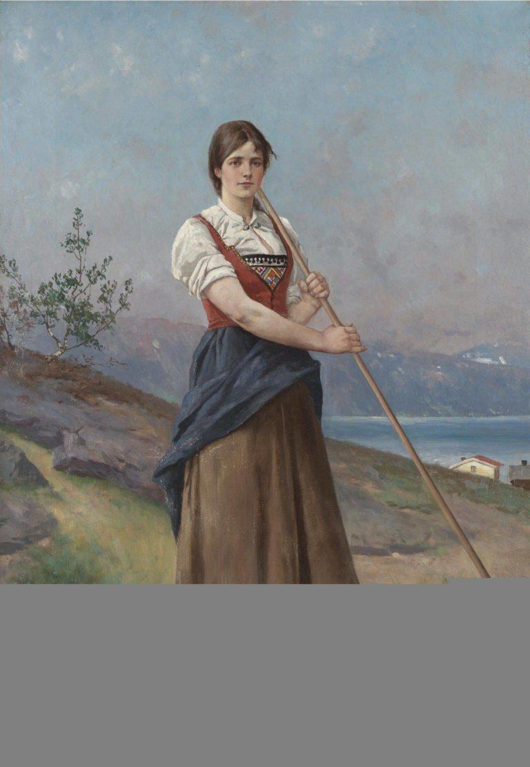 The Farm Girl   Axel Hjalmar Ender   oil painting