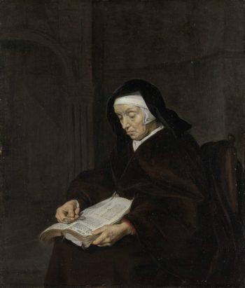 Old Woman Meditating. ca. 1661 - ca. 1663   Gabri?l Metsu   oil painting