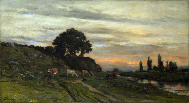 Landscape with Cattle by a Stream   Charles Francois Daubigny   oil painting