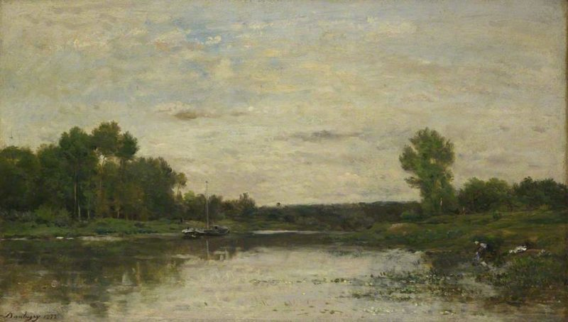 View on the Oise   Charles Francois Daubigny   oil painting