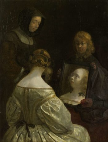 Woman at a Mirror. ca. 1652 | Gerard ter Borch (II) | oil painting