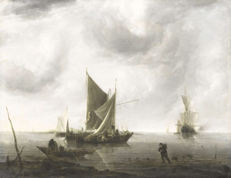 Vessels at anchor on a calm sea. ca. 1640 - ca. 1679 | Jan van de Cappelle | oil painting