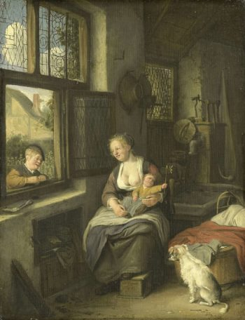 A mother with her children. 1690 | Cornelis Dusart | oil painting