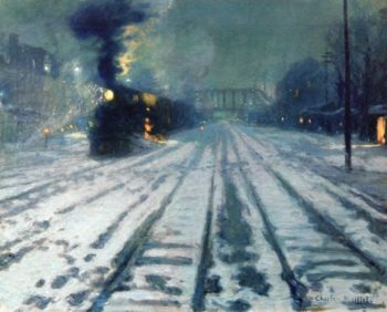 Railway Yard Winter Evening | Charles Reiffel | oil painting
