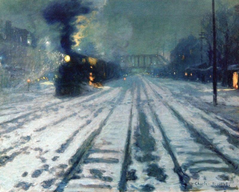 Railway Yard Winter Evening | Charles Reiffel | oil painting