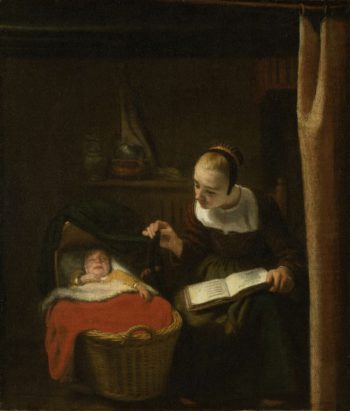 Young woman at the crib. 1652 - 1662 | Nicolaes Maes | oil painting