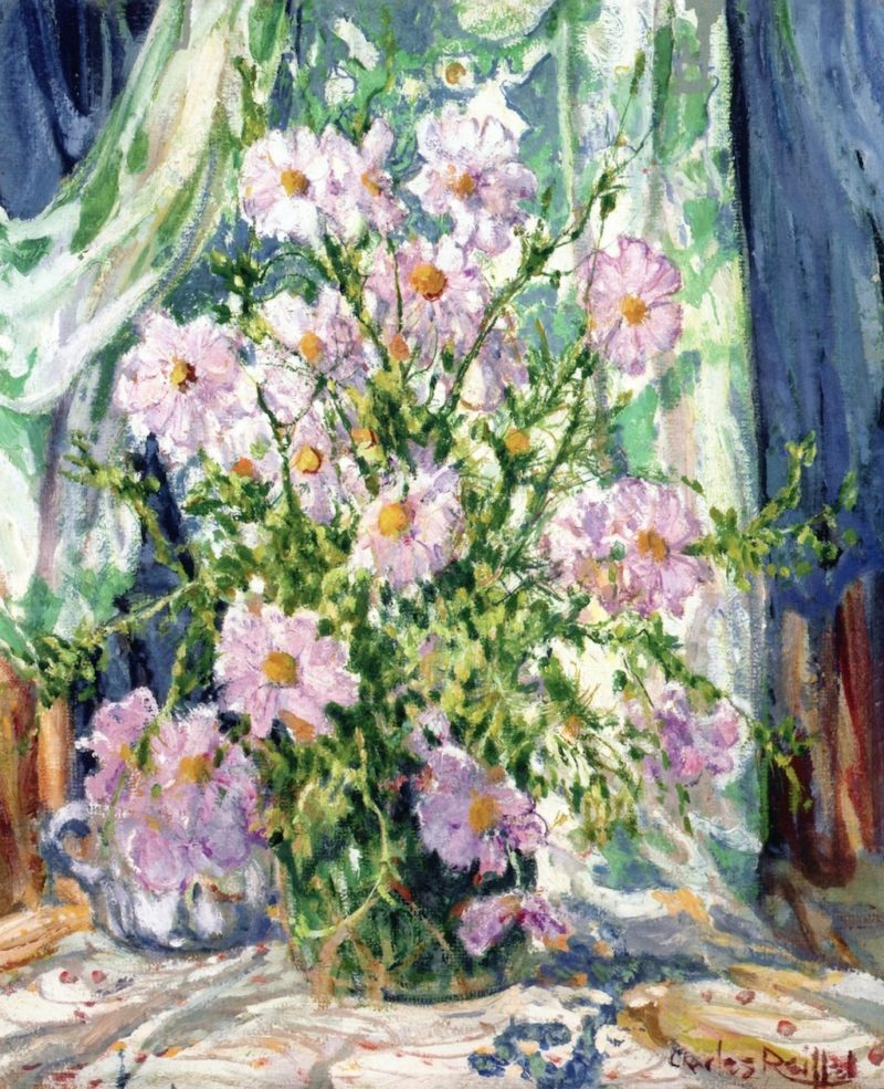 Still LIfe with Cosmos   Charles Reiffel   oil painting