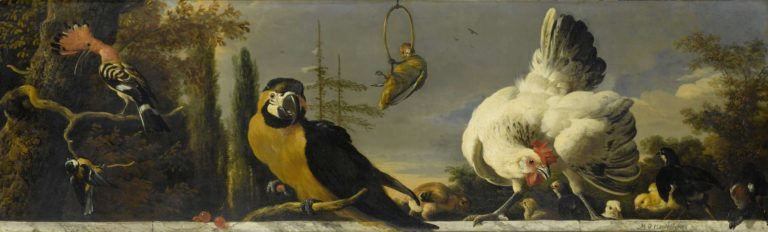 Birds on a railing. ca. 1680 - ca. 1690 | Melchior d' Hondecoeter | oil painting