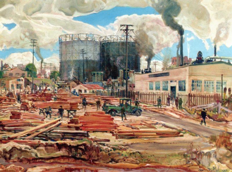 The Lumber Yard   Charles Reiffel   oil painting