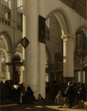 Interior of a Protestant Gothic Church during a Service. 1669 | Emanuel de Witte | oil painting