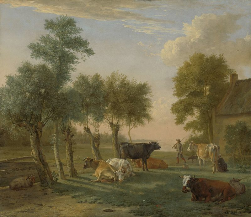Cows in a Meadow near a Farm. 1653   Paulus Potter   oil painting