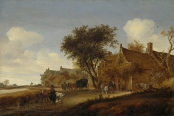 Village Inn with chariot. 1655 | Salomon van Ruysdael | oil painting
